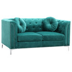 Glory Furniture - Pompano Loveseat, Green - Soft Velvet  Button Tufted on the Inside of the arms and Backs.  Pocketed Coil Cushion Seats Make this Set Comfortable and Stylish. Nailhead trimmed and finished off with Chrome Plated Legs , It also includes Round Matching Throw Pillows. KD Design allows for EZ Delivery to any Home or Room! Choose from Sofa. Loveseat Chair Or Reversible Chaise Sectional