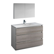 Lazzaro 48-inch Ash Gray Free Standing Vanity Set Versa Faucet/Brushed Nickel