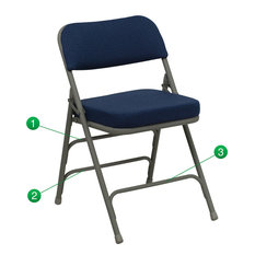 Premium Curved Triple Braced & Double Hinged Navy Fabric Metal Folding Chair