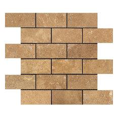 Noce Travertine Brick Mosaic, 2x4, Honed Mosaic Tiles, 10 Sqft
