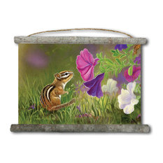 "Canvas Wall Scroll, Chipmunk in the Garden, 25""x18"""