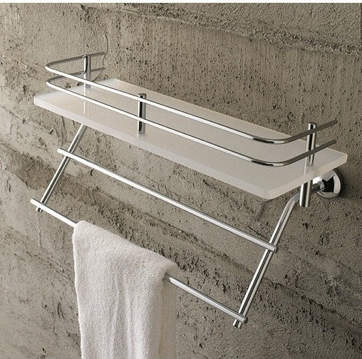 frosted gl shelf with railing and towel bar bathroom accessories .