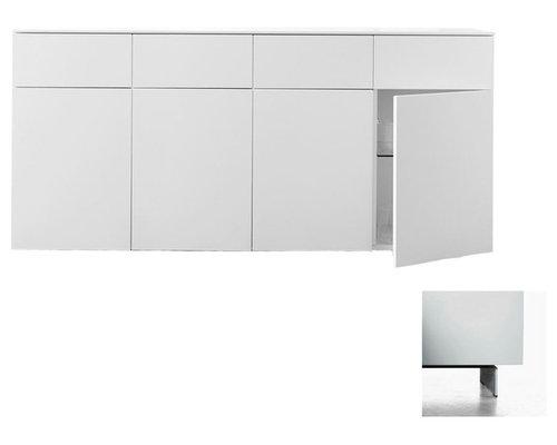 Arctic 40 Sideboard 4D & 4L, Vit/Vita Metallben - Opbevaringsskabe