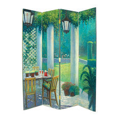 Wayborn Home Furnishing Inc   Wayborn Hand Painted 4 Panel The Patio Room  Divider Room Divider