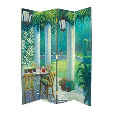 Wayborn Home Furnishing Inc   Wayborn Hand Painted 4 Panel The Patio Room  Divider Room Divider