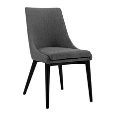 Viscount Upholstered Fabric Dining Side Chair, Gray