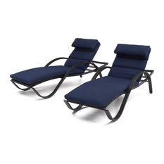 Deco Chaise Lounges, Set of 2, Navy Blue