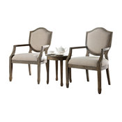 Kourtney Accent Arm Chair and Table Set, Antique-Style Natural, 3-Piece Set