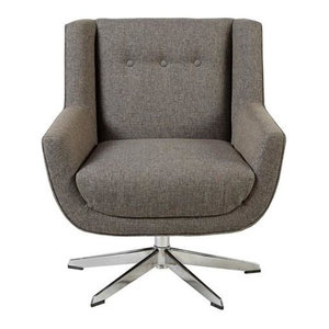 INK+IVY Swivel Lounge Chair And Star Based Swivel With Brown Multi II103-0355