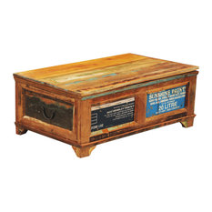 VidaXL   VidaXL Reclaimed Wood Storage Box Coffee Table, Vintage Antique  Style   Coffee Tables