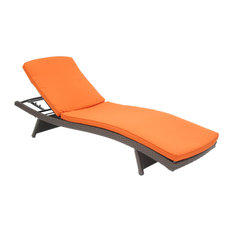 Wicker Adjustable Chaise Loungers With Cushion, Set of 2, Orange