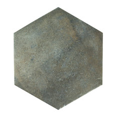 "14.13""x16.25"" Tremont Ferro Hex Porcelain Floor and Wall Tile, Ombra, Set of 9"