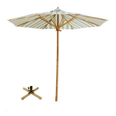 Outdoor Beach Umbrella 7 Foot Sunshade Patio Garden with Bamboo Base, Celadon St