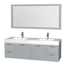 "Amare Wall Mounted Vanity Dove Gray, With Acrylic Resin With 72"" Double Mirror"
