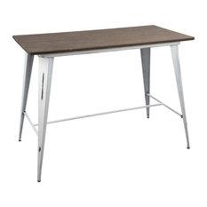 LumiSource Oregon Counter Table, Vintage White and Espresso