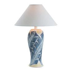 Socorro Leaf Table Lamp With Shade, Blue Banana Leaf