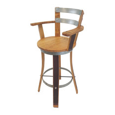 Wine Barrel Bar Stool With Armrest 30-inch Sit Height