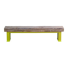 Large Natural Oak Outdoor Bench, Sun Yellow
