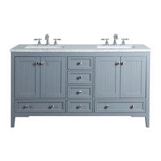 "New Yorker 60"" Gray Double Sinks Bathroom Vanity"
