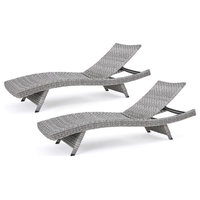 Isle of Palms Outdoor Gray Wicker Chaise Lounge, Set of 4