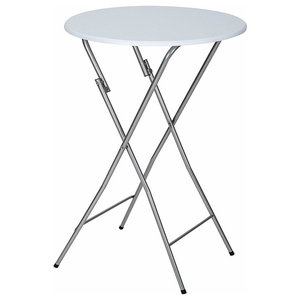 Foldable Bar Bistro Table With White Top and Chrome Finished Legs, Round Design