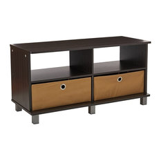 Contemporary Entertainment Center With Flat Table Top Espresso/Brown