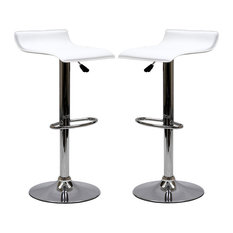 Gloria Bar Stools Faux Leather Set of 2, White