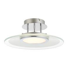 Amos LED Semi-Flush Ceiling Light Polished Chrome