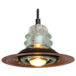 """Railroadware - Insulator Light Pendant Metal Hood 120V/40W - The Insulator Light Pendant, 7"""" Rusted Metal Hood 120V/40W Bulb is the perfect upcycled lighting choice for that rustic industrial or modern interior. Insulatorlights are sourced regionally and all made in the USA meeting all NEC Standards and can be tested & UL labeled if needed for inspection at an additional cost. The pendant comes ready to hang with instructions, canopy, hardware and bulb. Insulatorlights come in a variety insulator colors, shapes, canopy & cord finishes."""