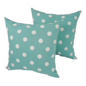 "Blaziing Needles 17"" Outdoor Throw Pillows, Blue, Set of 2"