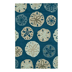 Addison Beaches Nautical Sand Dollar Navy Area Rug, Navy, 9'x13'