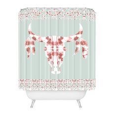 "Jacqueline Maldonado Southwest Boho Dye Skull Shower Curtain, 72""x69"""