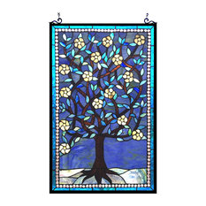 "WOODLEY, Tiffany-glass ""Tree of Life"" Window Panel, 20x32"