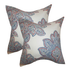 Haldis Floral Throw Pillows, Set of 2, Blue