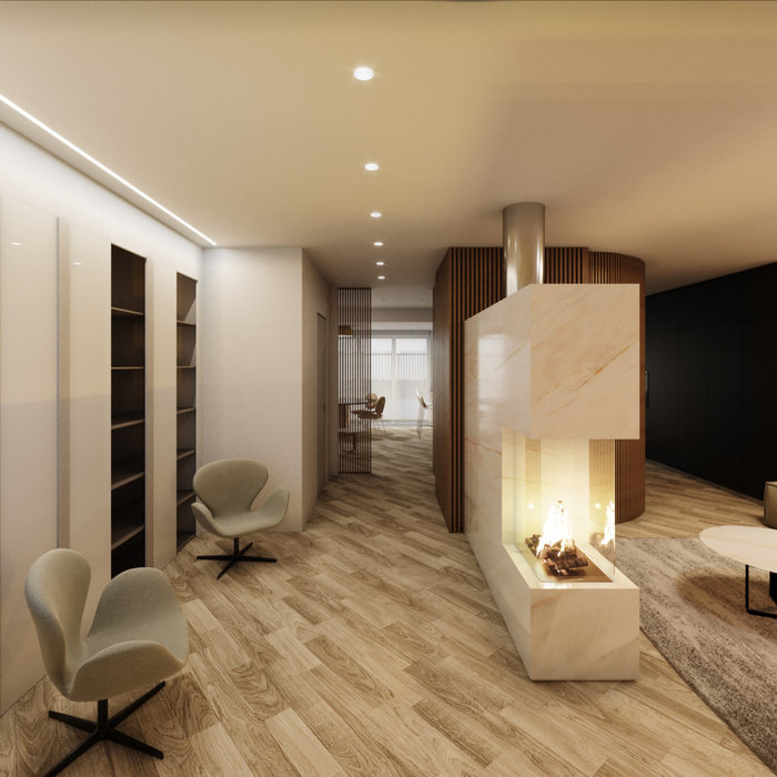 Example of a mid-sized trendy open concept light wood floor, beige floor, tray ceiling and wainscoting living room design in Catania-Palermo with white walls, a two-sided fireplace, a stone fireplace