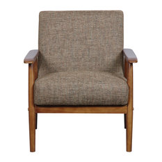 Mid Century Modern Styling Fabric, Wood Chair With Brown