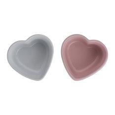 Le Creuset Stoneware 2-Piece Set Heart Ramekin Cotton and Chiffon, Pink