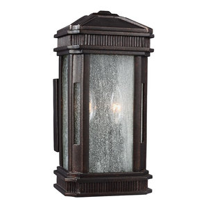 2-Light Small Outdoor Lantern, Gilded Bronze