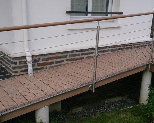 Garde-corps inox avec filet inox pour terrasse bois