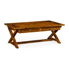 Country Walnut Coffee Table With Drawers