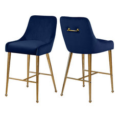 Owen Velvet Stool, Set of 2, Navy