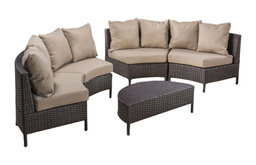 GDF Studio Outdoor 4 Seater Curved Wicker Sectional Sofa Set with Coffee Table