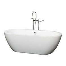 """Wyndham Collection 60"""" Soho White Soaking Bathtub With Chrome Drain, 68""""x30.5""""x2"""