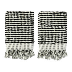 Fil Blanc - Rustic Terry Hand Towels, Set of 2, Black and White -