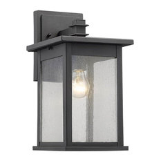 Transitional Outdoor Wall Sconce in Black