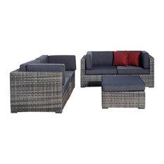 Nice 5-Piece Grey Wicker Seating Set, Grey
