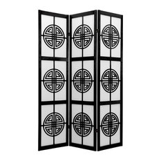 6' Tall Long Life Shoji Screen, 3 Panel, Black