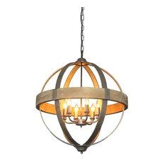 Round pendant lights houzz creative co op titan round metal and wood 6 light pendant lamp pendant aloadofball Images