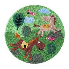 "Horse Kids Bedroom Rug, Embroidered Mat, Cartoon Carpet, 23.62""x23.62"""