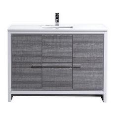 kubebath dolce vanity with quartz countertop ash gray 48 bathroom vanities - Small Modern Bathroom Vanities